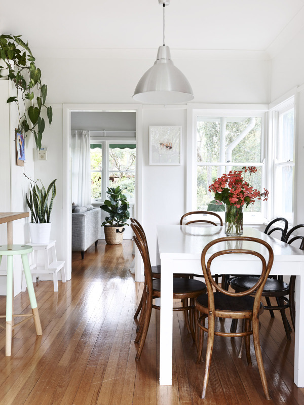 white with wooden floors
